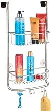 mDesign rangement de douche suspendu à la porte de la douche – étagère de douche pratique – montage sans perçage – accessoire de rangement salle de bain – argent mat