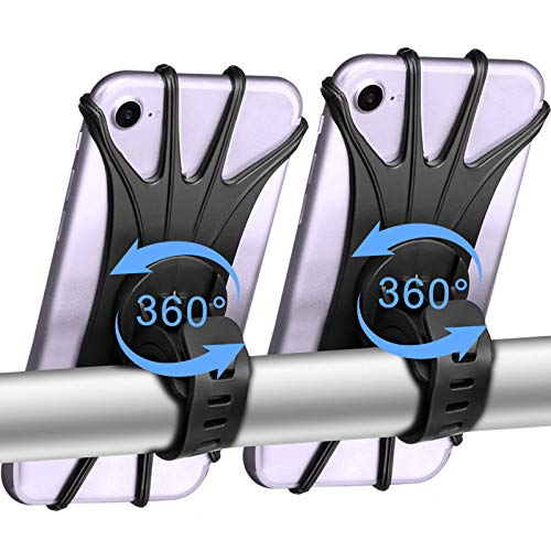 """Soporte Movil Bici, 360° Rotación Soporte Movil Moto Bicicleta, Desmontable Anti Vibración Porta Telefono Motocicleta Montaña para 4-6,5"""", Compatible con iPhone / Samsung / Huawei (2 Pack)"""