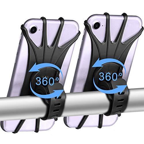 Porta Cellulare da Bicicletta, Supporto Telefono per Bici Girevole a 360°, Porta Cellulare Universale da Moto per Telefoni Cellulari da 4-6,5 Pollici, Compatibile con iPhone/Samsung/HUAWEI (2 Pack)