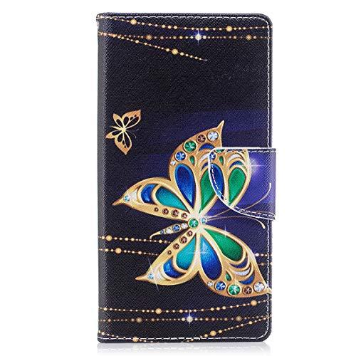 ISAKEN Sony Xperia XZ Premium Hülle, Folio PU Leder Flip Cover Brieftasche Geldbörse Wallet Hülle Ledertasche Handyhülle Tasche Schutzhülle Hülle für Sony Xperia XZ Premium - Gold Schmetterling