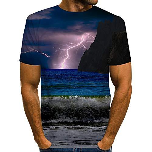 Treer 3D Camiseta para Hombre,Impresión Verano Manga Corta Casual Hipster Unisex Fit tee Shirts Camisetas Hombre Personalizada Divertidas Blusa Tops - S-5XL (Playa Relámpago,5XL)