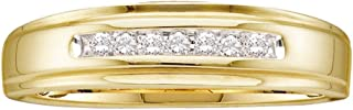14k Yellow Gold Mens Round Diamond Channel-Set Wedding Anniversary Band Ring 1/12 Cttw