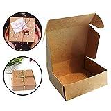 Kraft Papier Geschenkboxen (50 Stück) - 13x12x5 cm Kraft Braune Boxen Geeignet für Party, Hochzeit, Kekse, Schokolade, Schmuck und Geschenke
