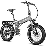 Eahora X5 750W Folding Electric Mountain Bike 48V Commuter Electric Bikes for Adults Dual Disc Brakes, Front Suspension, 4.0 Fat Tire, Power Regeneration, Electric Lock, 7 Speed Gears Ebike