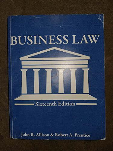 Business Law UT Custom 16th Edition