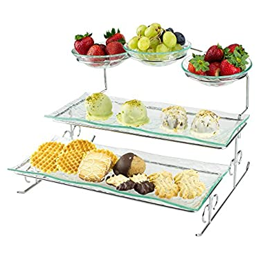 3 Tier Server Stand with Trays & Bowls - Tiered Serving Platter - Perfect for Cake, Dessert, Shrimp, Appetizers & More