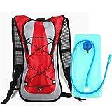 LBFXQ Mochila de hidratación, Bicicleta de Ciclismo/Bicicleta de Bicicleta/Caminata Bolsa de Escalada, con Paquete de hidratación Ligero de vejiga sin BPA de 2L, 5 Colores,Rojo