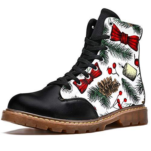 Bennigiry Patrón de Campanas de piñas de Abeto de Navidad Botas de Invierno Zapatos clásicos de Lona de caña Alta para Mujer