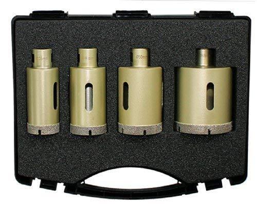 DIEWE Diamant Bohrkronen Set 4-teilig M14 (für Winkelschleifer - Granit, Steinplatten, Feinsteinzeug, Fliesen und Keramik) Ø 35, 40, 50, 68 mm