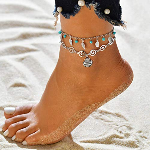 Jovono azul Boho abalorios hoja tobilleras árbol de múltiples capas vieira concha tobillera pulseras joyería del pie de playa para mujeres y niñas (vieira)