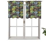 Hiiiman Cenefa de cortina con bloqueo UV, color gris carbón, imagen de fondo con flores circuladas, juego de 2, 42 x 24 pulgadas para habitación de niños