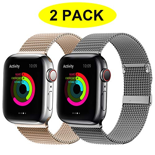 YC YANCH 2 Pack Compatible for Apple Watch Band 38mm 40mm, Adjustable Stainless Steel Mesh Metal Loop Replacement Band Compatible for iWatch Series 5/4/3/2/1 (Space Grey, Light Gold)