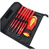 1000V Insulated Electrician Screwdriver Set CR-V Slotted Phillips Head Precision Screw driver High Voltage Resistant 1 pcs Soft-grip Handle 6 pcs Magnetic Tips Electrician Home Outdoor Repair Tool Kit