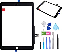 "Black Touch Screen Digitizer Repair Kit for iPad 9.7"" 2018 iPad 6 6th Gen A1893 A1954 Front Glass Replacement (Without Home Button,not Include LCD) +Pre-Installed Adhesive + Tools"