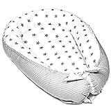 Totsy Baby Nido Bebe Recien Nacido - Reductor de Cuna nidos para Bebes cojin colecho (Estrellas Grises sobre Blanco, 90 x 50 cm)
