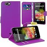 FoneExpert® Wiko Rainbow 3G / 4G Handy Tasche, Wallet Case Flip Cover Hüllen Etui Ledertasche Lederhülle Premium Schutzhülle für Wiko Rainbow 3G / 4G (Lila)