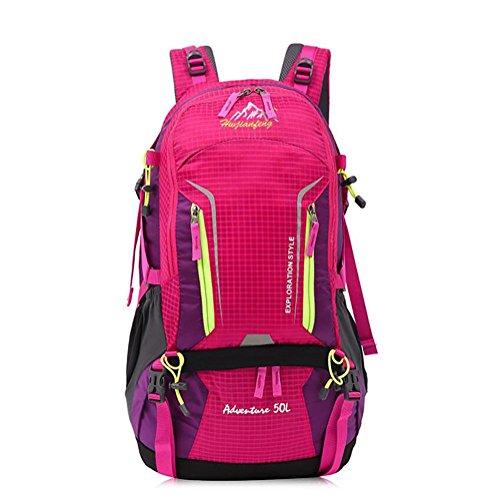 50L sac à dos de randonnée de grande capacité sac à bandoulière Voyage en plein air respirant et imperméable , rose red