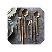 ローズゴールドカトラリー1810のステンレススチールフロストゴールド食器食器セットディナーナイフフォークS Poonsセットピクニックディナーセット、1Dinnerスプーン