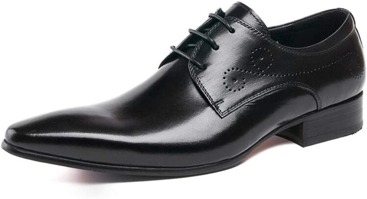 MKJYDM Men's Wear-Resistant Leather shoes Strap British Pointed Men's shoes with Dress shoes Classic Hair Stylist shoes 37-44 Yards Men's Leather shoes (color   Black, Size   41 EU)