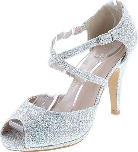 Bella Marie Shania-1 Women's Peep Toe Rhinestone Glitter Crossing Strap Dance Sandals,Silver,6