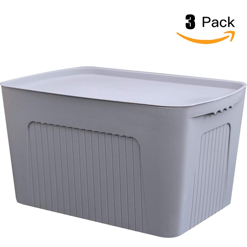 Bbyaki Caja De Almacenamiento De Plástico Grande 3 Juegos con Cubierta, Usado para Hogar Y Ropa De Tronco De Automóvil Ropa Interior Snack Clasificación,Gray: Amazon.es: Hogar