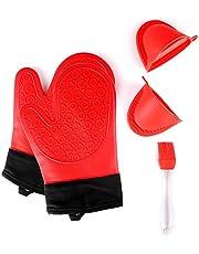 Jonhen Ovenhandschoenen hittebestendig silicone met katoenen voering voor keuken bakken - ovenhandschoenen, 1 paar, borstel & pannenlappen (rood)