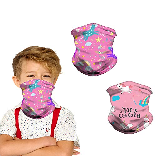 Kids Neck Gaiter Face Mask for Coronavịrus Protection with Ear Loops for Girls Sun UV Protection Scarf Bandana Headband for Teen girls