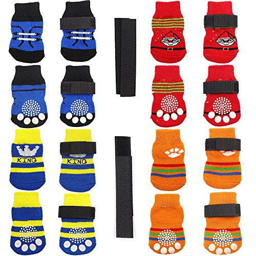 N/A/ 4 pares de calcetines antideslizantes para perro, suela de goma suave con correas ajustables, control de tracción para cachorros y gatos en interiores en madera dura para el suelo (S)