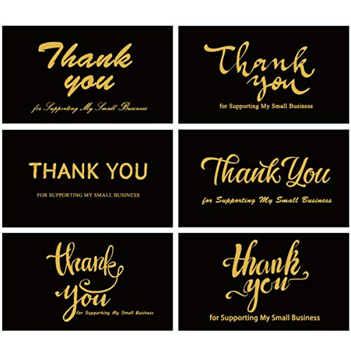 240 Pieces Black Gold Thank You for Supporting My Small Business Cards, Small Gold Thank You Cards for Retail Store,...