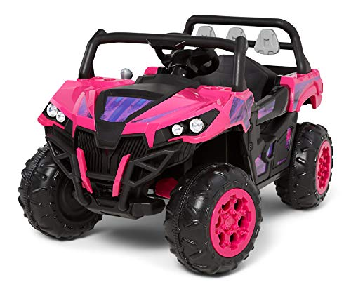 Kid Trax Toddler UTV Electric Ride-On Toy, Kids 3-5 Years Old, 6 Volt Battery and Charger, Max Rider Weight 60 lbs, LED Headlights, Pink, KT1597AZA
