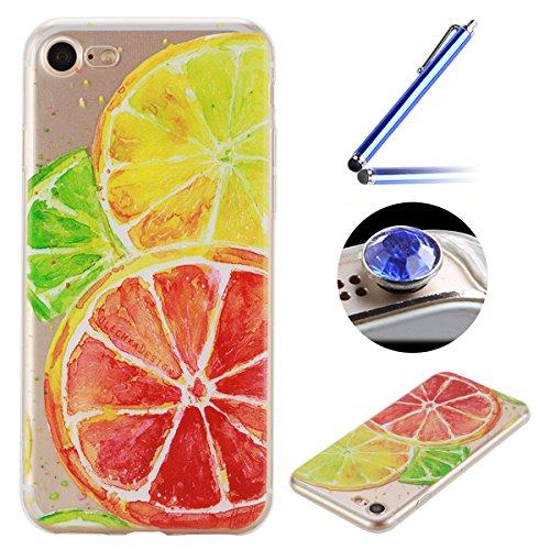 Etsue Doux Protecteur Coque pour iPhone 7,TPU Matériau Frame est Transparent Soft Cover pour iPhone 7,Coloré Motif par Dessin de Mode Case Coque pour iPhone 7 + 1 x Bleu stylet + 1 x Bling poussière plug (couleurs aléatoires)-Citron
