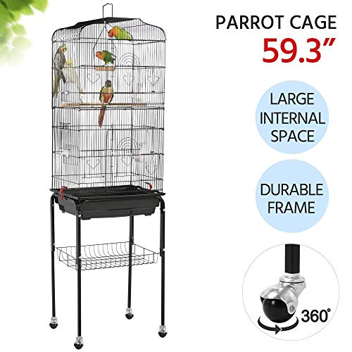 Yaheetech 59.3-inch Standing Medium Small Parrot Parakeet Bird Cages with Rolling Stand for...