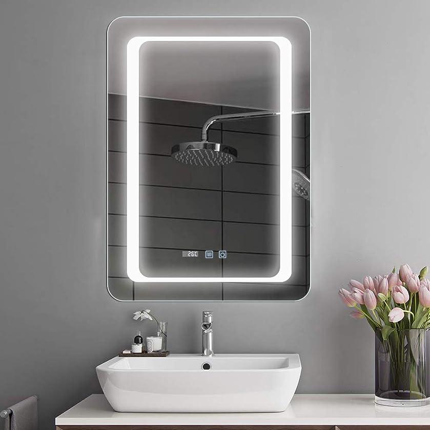 称賛傑作めったにBacoer ミラー 鏡 LED 壁掛け 照明付き 化粧鏡 洗面所 洗面台 おしゃれ 暖色 白色LED内蔵 色温度3000-6000K調節可能 (50*70CM 縦掛け)