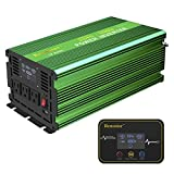 Renoster 2500W Pure Sine Wave Inverter Car Power Converter, DC 12V to AC 110V with Rechargeable Remote Control LCD Display 3 AC...