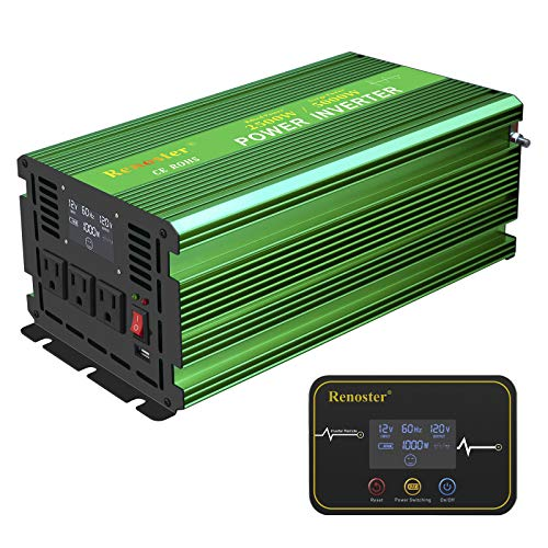 Renoster 2500W Pure Sine Wave Inverter Car Power Converter, DC 12V to AC 110V with Rechargeable Remote Control LCD Display 3 AC Outlets and 2.4A USB Port for RV Truck Road Travel Emergency Tools