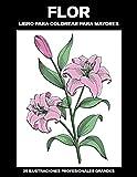 Flor Libro para Colorear para Mayores: Libro para colorear para Mayores fácil de llenars, 25 ilustraciones profesionales para aliviar el estrés y relajarse: 1 (Flores Paginas para Colorear)