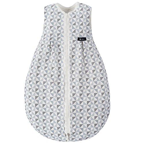 Alvi Baby Mäxchen Light - Leichter Sommer-Schlafsack ohne Arm/ungefüttert/Birnenform, 100% Baumwolle, Öko-Tex 100 zertifiziert - Silber Grau (70 cm)