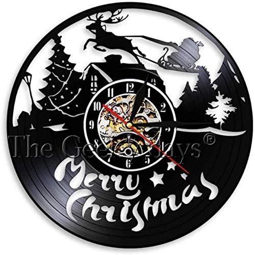 Vinyl wandklok Merry Christmas Design Santa Claus Love Light Modern Wall Art handgemaakte cadeau voor kinderen 12 inch vinyl wandklok