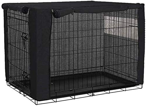 Housse de cage pour chien en polyester résistant et coupe-vent pour cage à chien, pour intérieur et extérieur, accessoires pour animaux domestiques – Housse uniquement (noir, 37 x 24 x 25 cm)