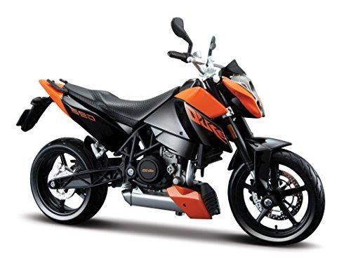 Maisto KTM 690 Duke: Originalgetreues Motorradmodell 1:12, mit beweglichem Ständer, Federung und frei rollenden Rädern, 17 cm, schwarz-orange (531181)