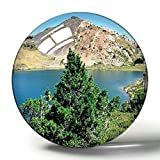 Hqiyaols Souvenir Pirineos Orientales Francia Lac Des Bouillouses Imán de Nevera de Recuerdo 3D Imanes de Nevera de Cristal de círculo de Regalo de Viaje