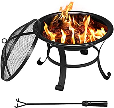 Stunning Portable Black Round Bowl Firepit Log Burner Heater - Comes With BBQ Grill Rack -Perfect For Garden outdoor Camping BBQ Picnics Holiday Festivals Beach Patio-Black from 567888