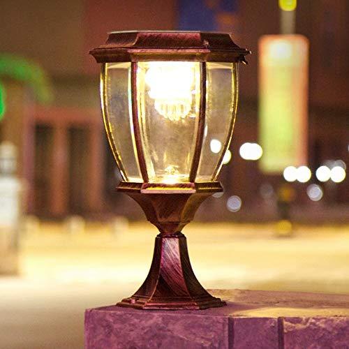 Lámpara de pared para exteriores Retro Exterior Exterior Impermeable LED Energía solar Pilar insertado Césped Camino de pared Guirnalda Lámpara de columna para exteriores Retro Vintage Luz de mesa Po