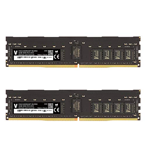 v-Color 64GB (2 x 32GB) Server Memory RAM Modul für Apple Mac Pro 2019 Upgrade DDR4 2933MHz (PC3-23400) ECC Registered DIMM Dual Rank 1.2V CL21 2Rx8 (VHA21ASDRAG8T-BG29RD)