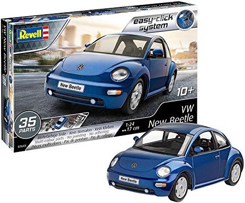 Revell RV07643 VW New Beetle, Automodellbausatz 1:24, 17 cm Modellbausatz für Einsteiger mit dem Easy-Click-System, farbige Bauteile, Blau