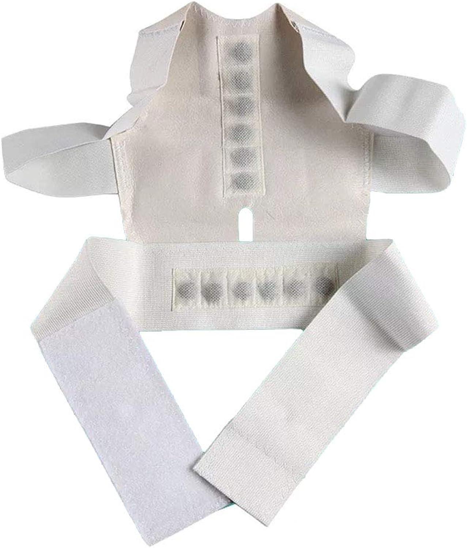Back Support Magnet Posture Correction Ventilation Adjustable to Improve Poor Hunchback Posture,White,M