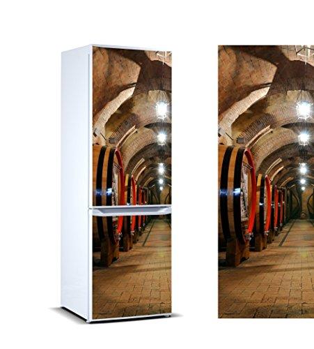 Vinilo para Frigorífico Barricas en Bodega | Varias Medidas 185x60cm | Adhesivo Resistente y de Fácil Aplicación | Pegatina Adhesiva Decorativa de Diseño Elegante