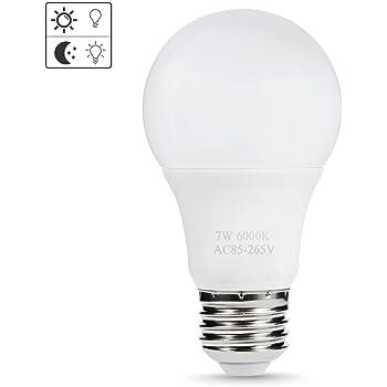 Sensor LED Bulbs, AveyLum 7W Automatic Dusk to Dawn Light Bulb Daylight E26/E27 Cool White Outdoor Indoor LED Night Lighting Bulbs for Porch Garage Basement Hallway Stairs