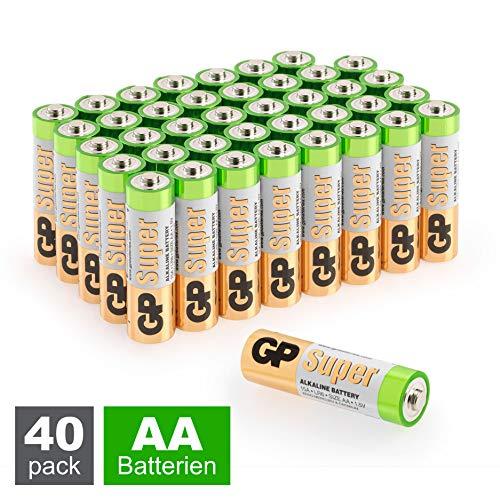 GP Batterien AA 1,5V Super Alkaline Longlife Technologie, Vorratspack mit 40 Stück Mignonzellen in praktischer