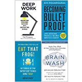 Deep Work, Becoming Bulletproof, Eat That Frog, Brain Wash 4 Books Collection Set